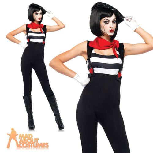 Adult Marvelous Mime Artist Costume Ladies French Womens Fancy Dress Clown