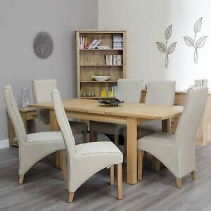 Arden Solid Oak Furniture Extending Dining Table And Six Cream Chairs Set