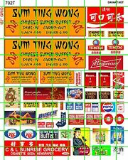 7027 DAVE'S DECALS HO SCALE SUM TING WONG CHINESE SUPER BUFFET SIGN SET WITH ADS