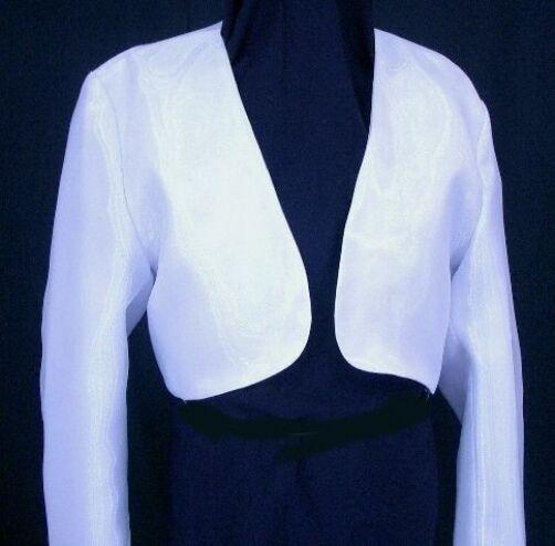 Girls Long Sleeved White Satin Bolero Jacket Girl Sizes 4 6 8 10 12 14