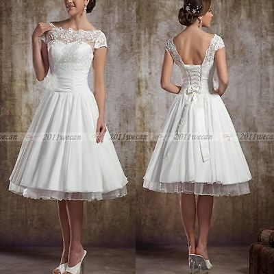 Short 1950s Vintage Lace Wedding Dress Bridesmaid Dress 6 8 10 12 14 16 ++Custom
