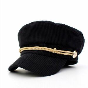 7195275b009be Ladies Men Corduroy Fiddler Hat Caps Vintage Newsboy Mariner Black ...