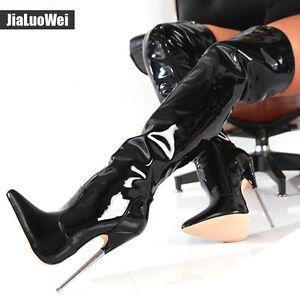Ladies-Sexy-18cm-Extreme-High-Metal-Heel-Stiletto-Zipper-Over-the-Knee-Boots-sz