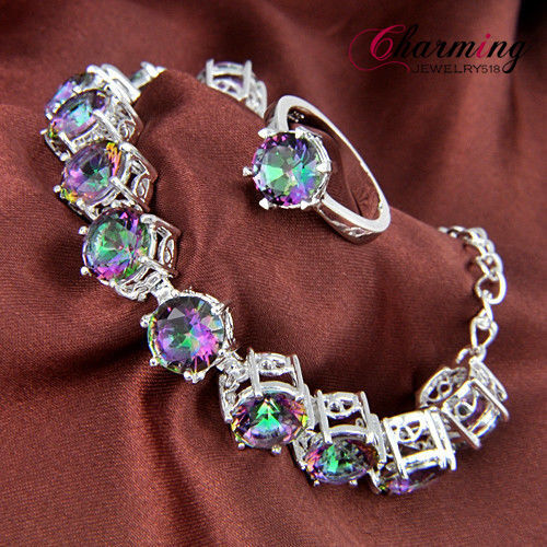 TOP Sale Fire Rainbow Mystical Topaz Gems Silver Bracelet & Ring Jewelry SET