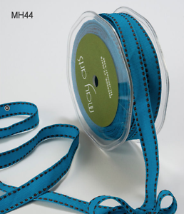 """May Arts 1//2/"""" grosgrain w//stitched edge ribbon 5 yds MH44 -Turquoise//Black"""