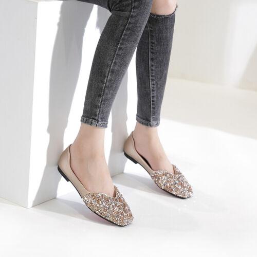 Sequins Bling-bling Flats Shiny Rhinestones Wedding Plus Size White Women Shoes