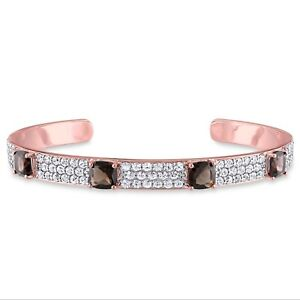 18k-Rose-Gold-Over-Silver-Smokey-Quartz-and-White-Sapphire-Bangle