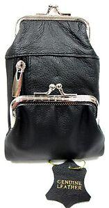 Women-039-s-Genuine-Leather-Cigarette-Soft-Pouch-Case-2-Pocket-Twist-Clasp-Closure