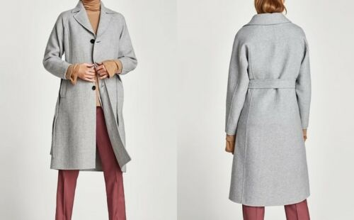 Zara woman handmade CAPPOTTO CINTURA GRIGIO CHIARO COAT LIGHT Grey with belt