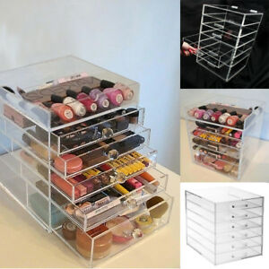 Acrylic-Makeup-Organiser-6-Tier-Clear-Cosmetic-Storage-Box-Tray-Drawers-UK