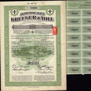 Original SWEDEN bond KREUGER /& TOLL 100 Kr 1928 coupons