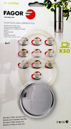 10t dichtungsset für10 TAZZE espresso Fornello Per 1 xedelstahlfilter 3x GUARNIZIONI Etna