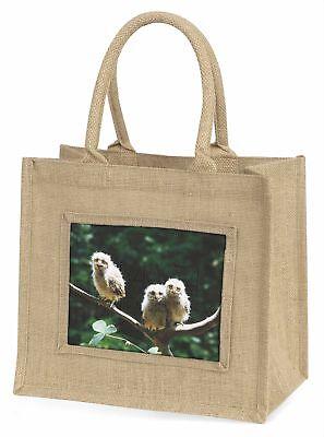 Baby Eulen auf Zweig Große natürliche jute-einkaufstasche Weihnachten