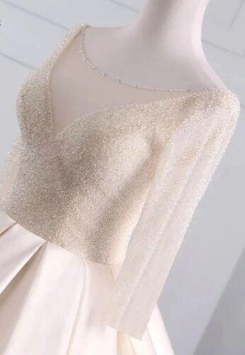 UK White//ivory//Champagne Beading Long Sleeve Satin Wedding Dresses Size 6-22