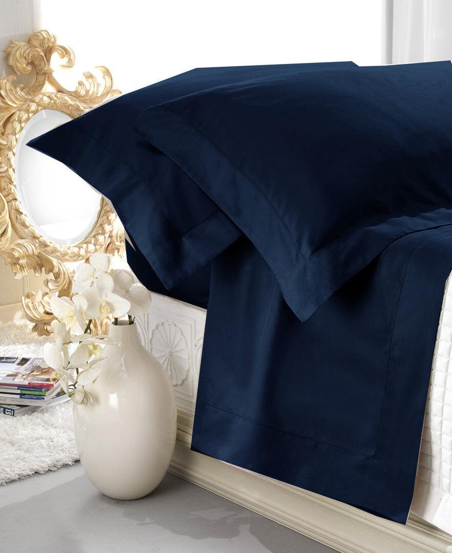 Completo Lenzuola Matrimoniale Raso di Cotone Lucido Aurora Blau Orlo a Giorno