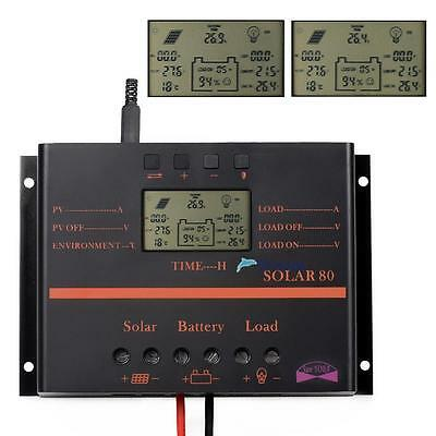 80A LCD Solar Battery Regulator Charge Discharge Controller 12V 24V With USB TLS