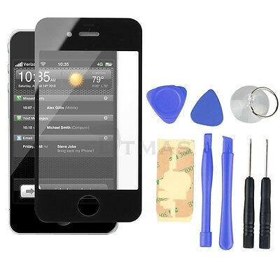 Black Front Screen Glass Lens Replacement + 8 Tools for iPhone 4G 4 4th