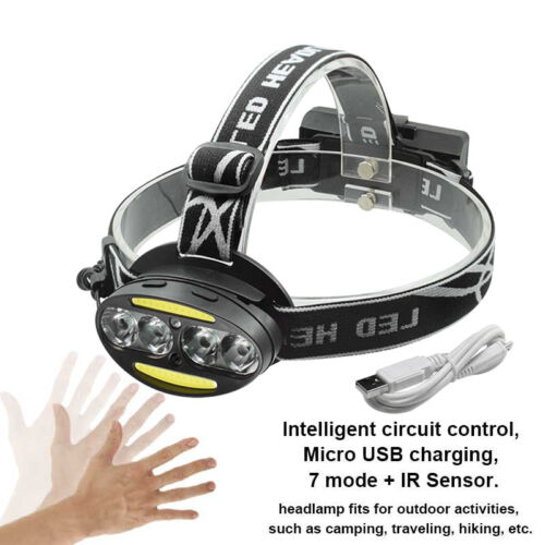 LED Headlamp headlight T6 Cob Infrared Induction head flashlight USB 18650