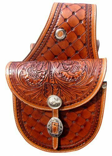 BROWN Floral Tooled Leather Western Cantle Saddle Bags Motorcycle Horse 176776