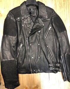 Prendas estrenar negro de etiquetas de cuero Hudson A Biker abrigo chaqueta muchos tamaños con dzKfaw