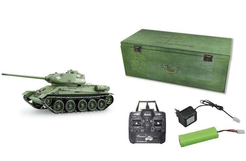 Noël, le dernier dernier dernier fou s'est approché Rc tank t-34/85 r&s/2.4ghz/Coffret métal chaînes/Métal Boîte de vitesses/qc 23057 455390