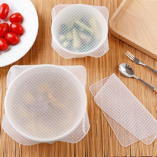 Stretch Reusable Silicone Bowl Food Storage Wrap Cover Seal Fresh Lids Film