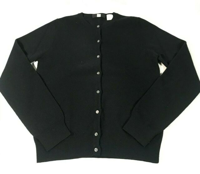 Saks Fifth Avenue Womens 100% CASHMERE Button Down Cardigan Black Sweater SMALL