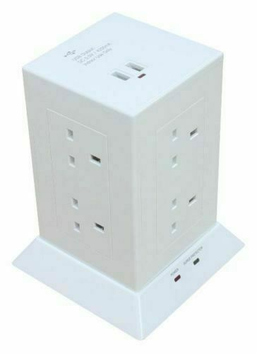 Surge Protected 8 Gang Power Hub station 2//4 PORTS USB extension 1.5 m leadtower