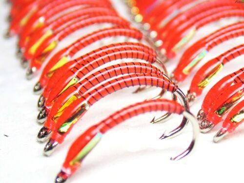 3 x Fire Orange Sub superficie Fly Fishing Cicalini con semaforo guance 10 S