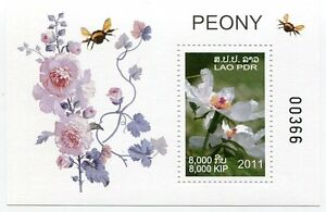 LAOS-STAMP-2011-PEONY-FLOWER-SHEET