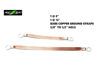 """Made in USA 4-Pack Bonding Universal 8/""""+12/"""" Inch BARE Copper Ground Straps"""