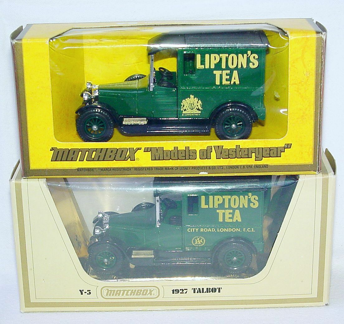 2x Matchbox MOY 1 47 TALBOT LIPTON'S TEA 2 Logo Versions  Delivery Van Y-5 MIB