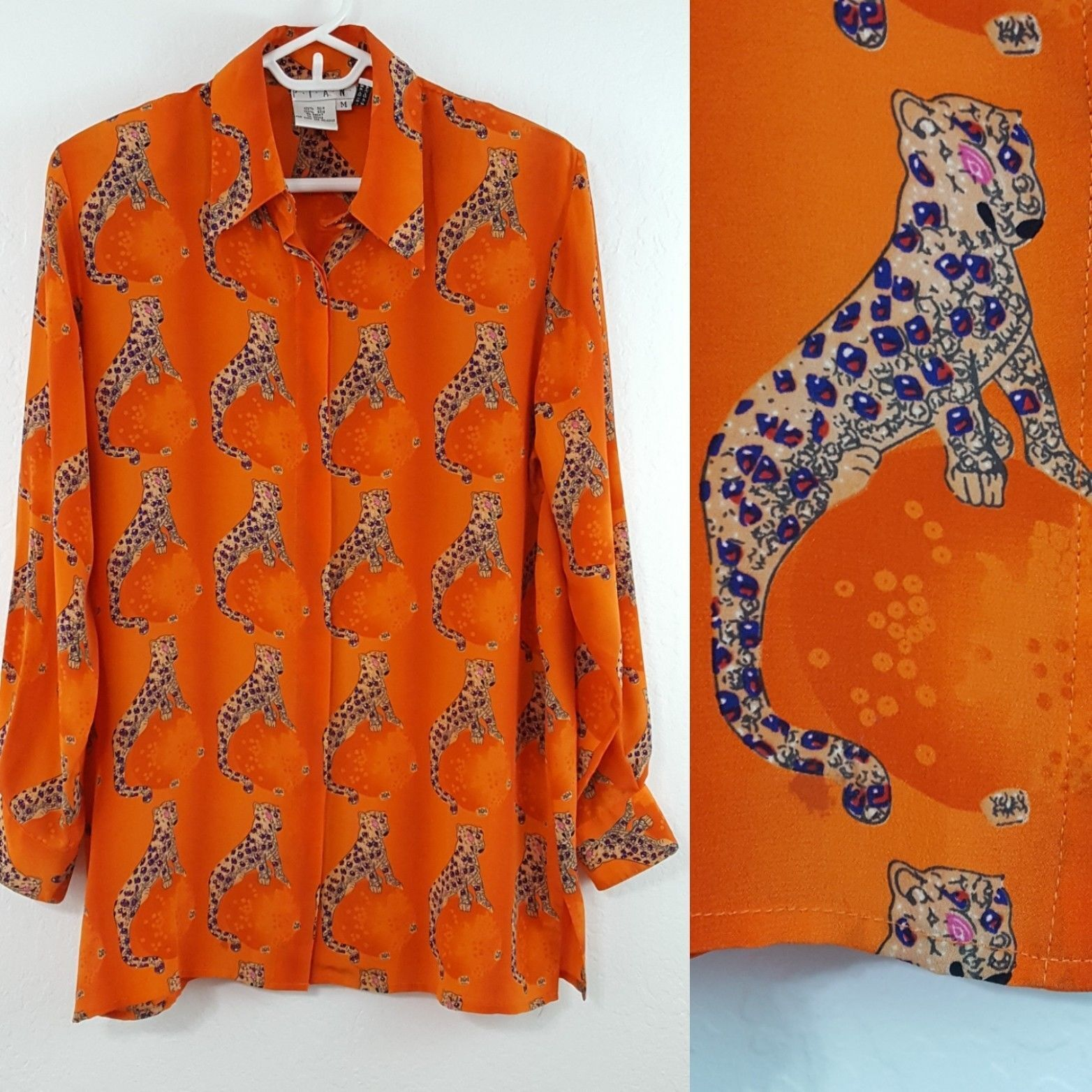 VTG Piano Woherren Silk Shirt Größe Medium Big Cat Jaguar Leopard Art to Wear