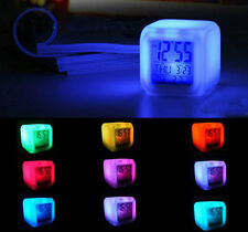 LED 7 Color Glowing Change Digital Calendar Alarm Thermometer Snooze Clock Cube