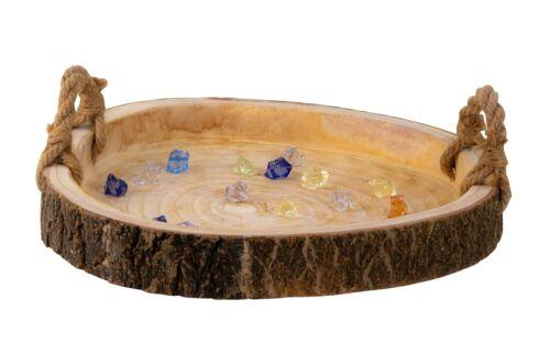 Dekoratives Tablett Serviertablett Braun aus Holz mit Rinde und Griff D48 cm