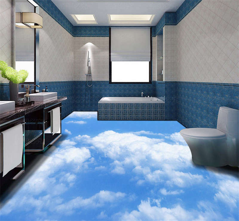 Sky And Clouds 3D Floor Mural Photo Flooring Wallpaper Home Print Decoration