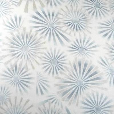 Pewter Blue Ivory Cotton Fabric by Kaufman Shimmering Shining Bursts