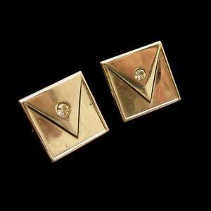 SWANK-Vintage-Mens-Cufflinks-Cuff-Links-Triangle-Rhinestone-Panels