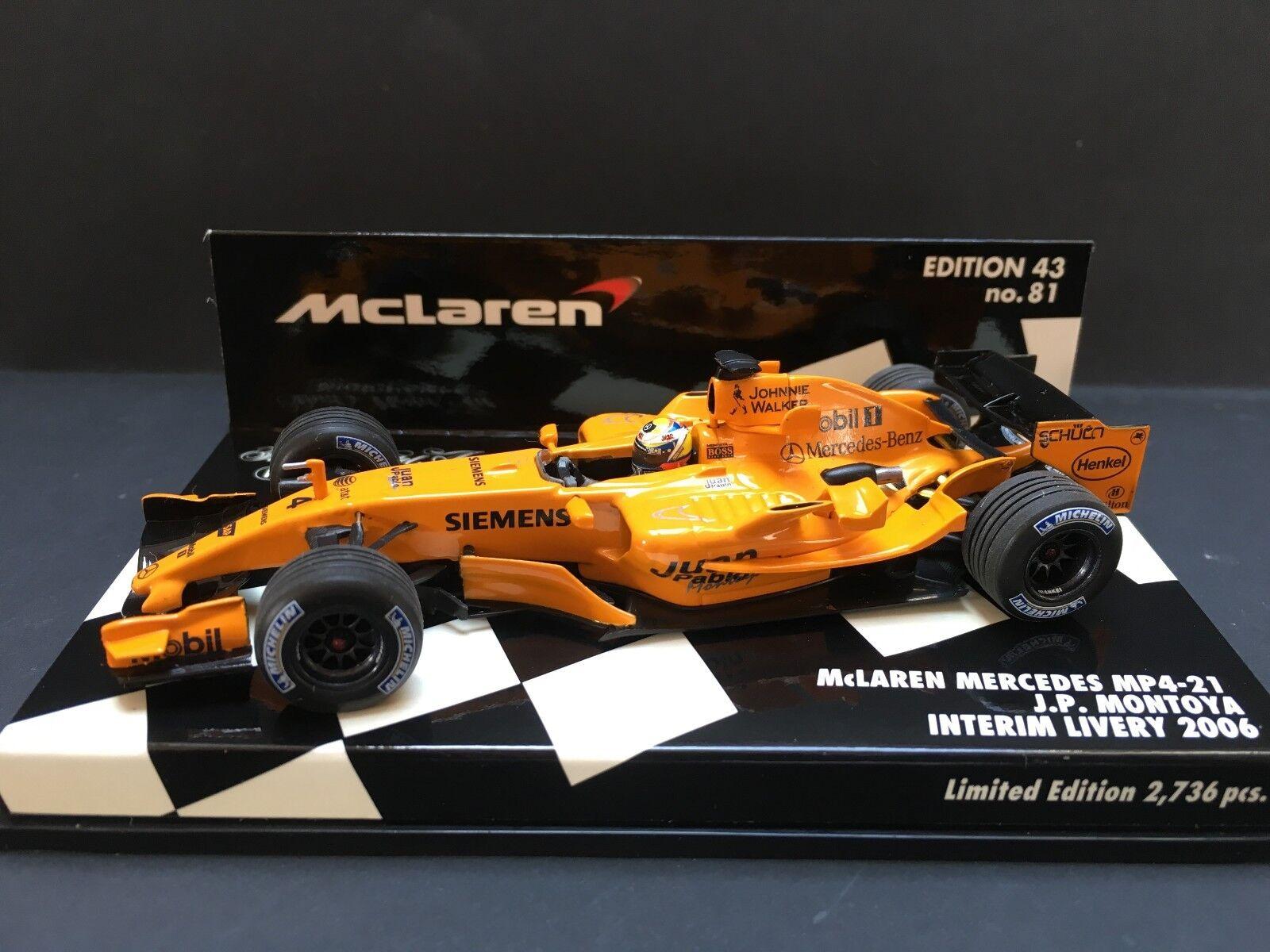 Minichamps - Juan Pablo Montoya - McLaren - Mp4 21 - 2006 -1 43 - Interim Livery