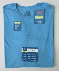 LOT OF 4 Mens Fruit of the Loom Crew Neck Short Sleeve Shirts NWT BLUE XXL