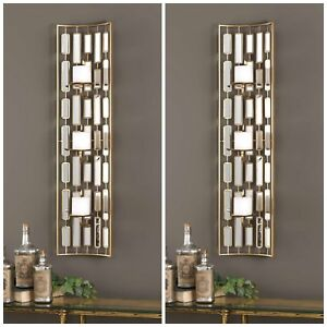 Details About 2 Mid Century Modern Gold Metal Accented Mirrors Wall Sconce Candle Holders