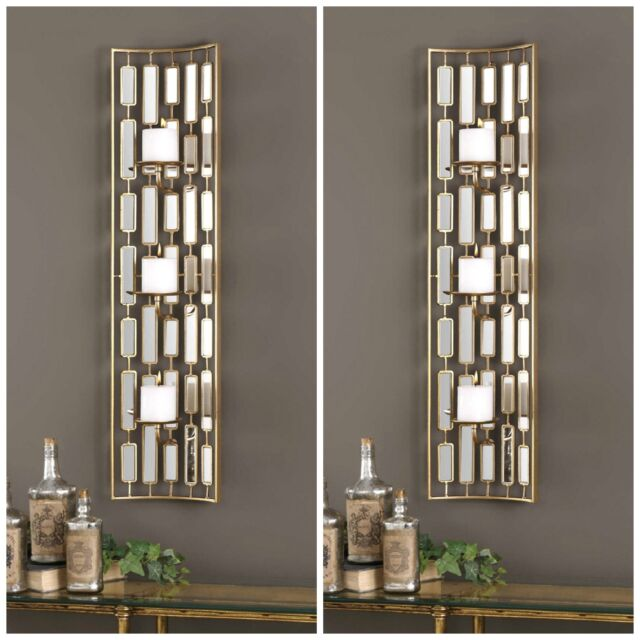 Two Mid Century Modern Gold Metal Accented Mirrors Wall Sconce Candle Holders