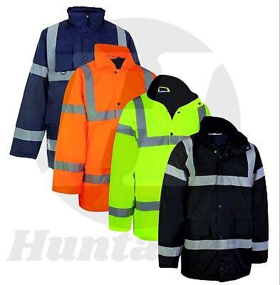HI VISIBILITY HI VIZ PADDED WATERPROOF REFLECTIVE SAFETY WORK JACKET COAT PARKA