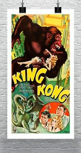 King-Kong-1933-Movie-Poster-Rolled-Cotton-Canvas-Giclee-Print-17x30-Inches