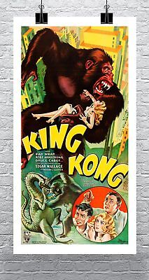 King Kong 1933 Movie Poster Rolled Cotton Canvas Giclee Print 17x30 Inches Ebay