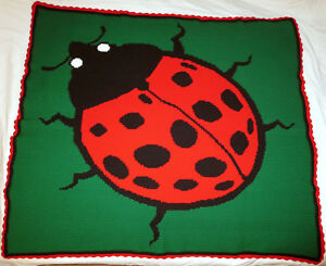 HANDMADE Crochet AFGHAN Knit THROW Red LADYBUG Quilt COUCH Lap ... : ladybug quilt - Adamdwight.com