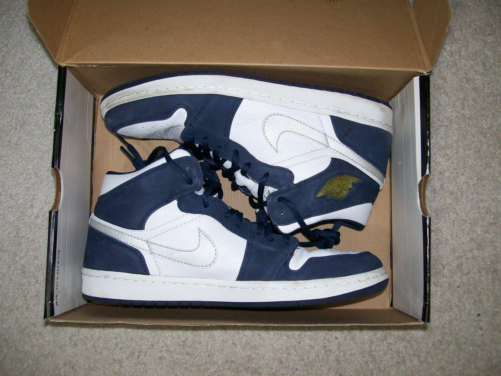 2001 Numerada 10.5 Nike Jordan 1 Retro + medianoche Air Azul Marino 136065-101 criados Royal