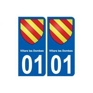 01 Villars-les-dombes Ville Autocollant Plaque Sticker - Angles : Droits Performance Fiable