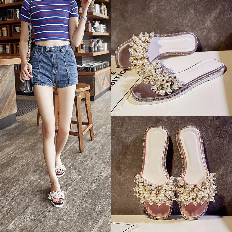 Fashion Womens Rhinestone Pearls open Toe Slipper Sandals Flats Mules shoes SIZE