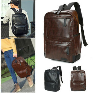 c44093d5186f Image is loading Vogue-Classic-Men-Women-Vintage-Leather-Backpack-Rucksack-